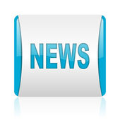 ニュースの青と白の正方形の web 光沢のあるアイコン — ストック写真