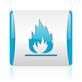 Flames blue and white square web glossy icon — Stock Photo