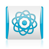 Atom blue and white square web glossy icon — Stock Photo