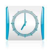Clock blue and white square web glossy icon — Stock Photo