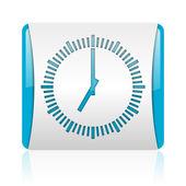 青と白の正方形ウェブ光沢のあるアイコンをクロックします。 — ストック写真