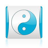Ying yang blue and white square web glossy icon — Stock Photo