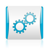 Gears blue and white square web glossy icon — Stock Photo