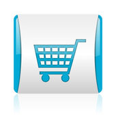 Shopping cart blue and white square web glossy icon — Stock Photo