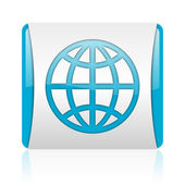Earth blue and white square web glossy icon — Stock Photo