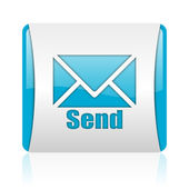 Send blue and white square web glossy icon — Stock Photo