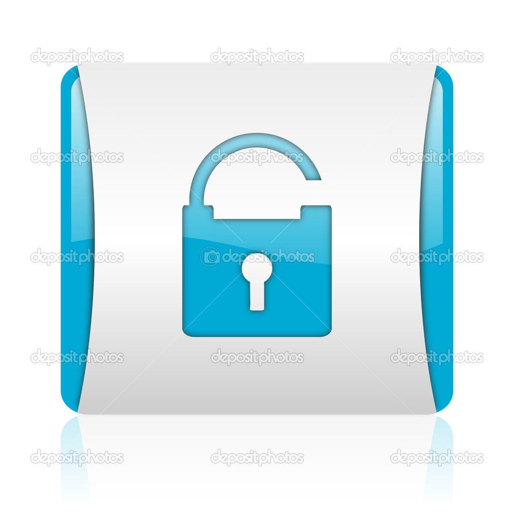 挂锁蓝色和白色方形 web 光泽图标