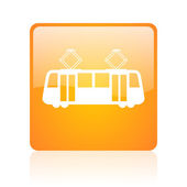 Tram orange square glossy web icon — Stock Photo