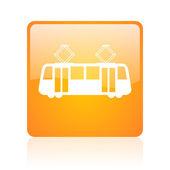 трамвай оранжевый квадрат глянцевый web значок — Стоковое фото