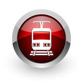 Train red circle web glossy icon — Stock Photo