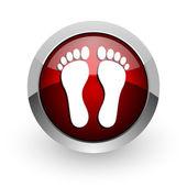 Fußabdruck roter kreis web glossy ii — Stockfoto