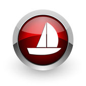 Yacht red circle web glossy icon — Stock Photo