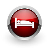 Hotel red circle web glossy icon — Stock Photo