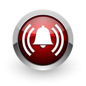 Icône de papier glacé web alarme de cercle rouge — Photo