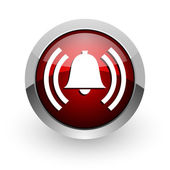 Poplach červeného kruhu web lesklý ikona — Stock fotografie