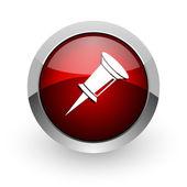 Círculo rojo web brillante icono — Foto de Stock