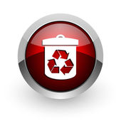 Recycle red circle web glossy icon — Stock Photo