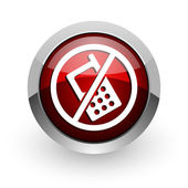 No phones red circle web glossy icon — Stock Photo