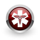 Icono brillante de caduceo círculo rojo web — Foto de Stock