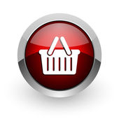 Shopping cart red circle web glossy icon — Stock Photo