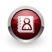 Address book red circle web glossy icon — Stock Photo