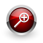Magnification red circle web glossy icon — Stock Photo