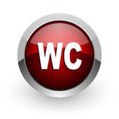 Icono brillante de wc círculo rojo web — Foto de Stock