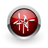 Windmill red circle web glossy icon — Stock Photo
