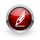 Draw red circle web glossy icon — Foto Stock