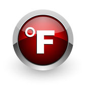 Fahrenheit red circle web glossy icon — Stock Photo
