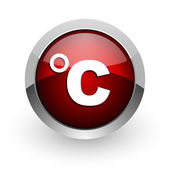Celsius red circle web glossy icon — Stock Photo