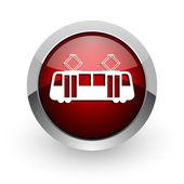 трамвай красный круг веб глянцевой значок — Стоковое фото