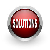 Solutions red circle web glossy icon — Stock Photo