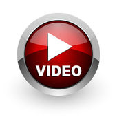 Video red circle web glossy icon — Stock Photo