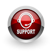 Support red circle web glossy icon — Stock Photo