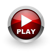 Play red circle web glossy icon — Stock Photo
