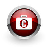Financial red circle web glossy icon — Stock Photo