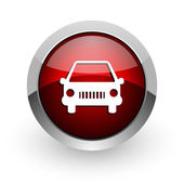 Car red circle web glossy icon — Foto de Stock