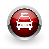 Taxi red circle web glossy icon — Stock Photo