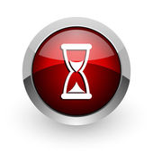 Time red circle web glossy icon — 图库照片