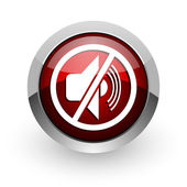 Mute red circle web glossy icon — Stock Photo