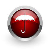 傘赤円 web 光沢のあるアイコン — ストック写真