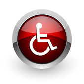 Accessibility red circle web glossy icon — Stock Photo
