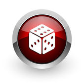 Dice red circle web glossy icon — Stock Photo