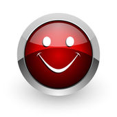 Smile red circle web glossy icon — Stock Photo