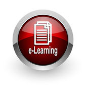 E-learning red circle web glossy icon — Stock Photo