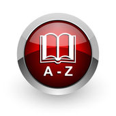 Dictionary red circle web glossy icon — Stock Photo