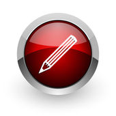 Pencil red circle web glossy icon — Stock Photo