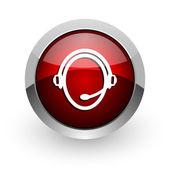 Customer service red circle web glossy icon — Stock Photo