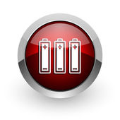Batteries red circle web glossy icon — Stock Photo